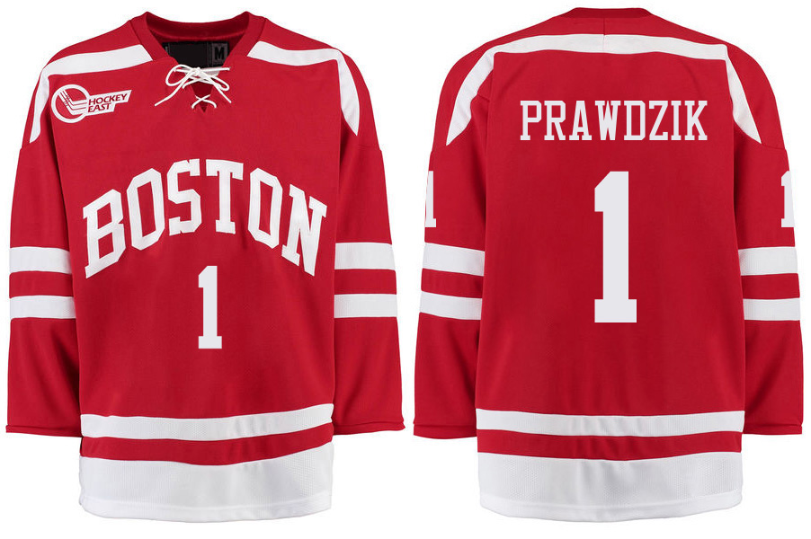 Boston University Terriers BU 1 Max Prawdzik Red Stitched Hockey Jersey