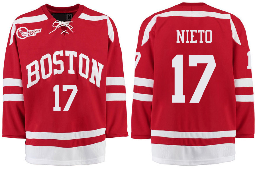 Boston University Terriers BU 17 Matt Nieto Red Stitched Hockey Jersey