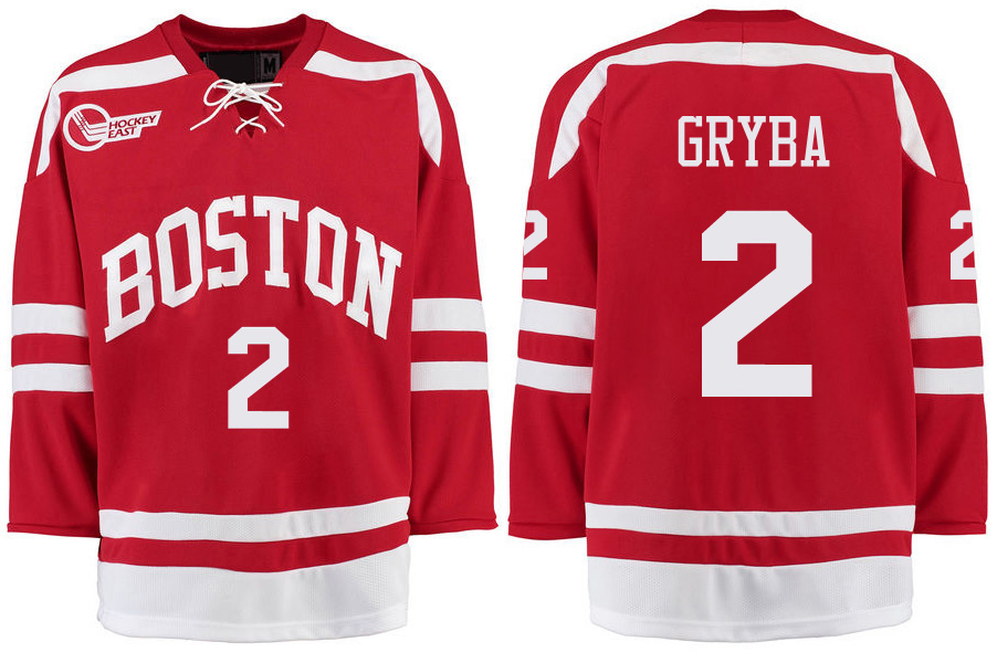 Boston University Terriers BU 2 Eric Gryba Red Stitched Hockey Jersey