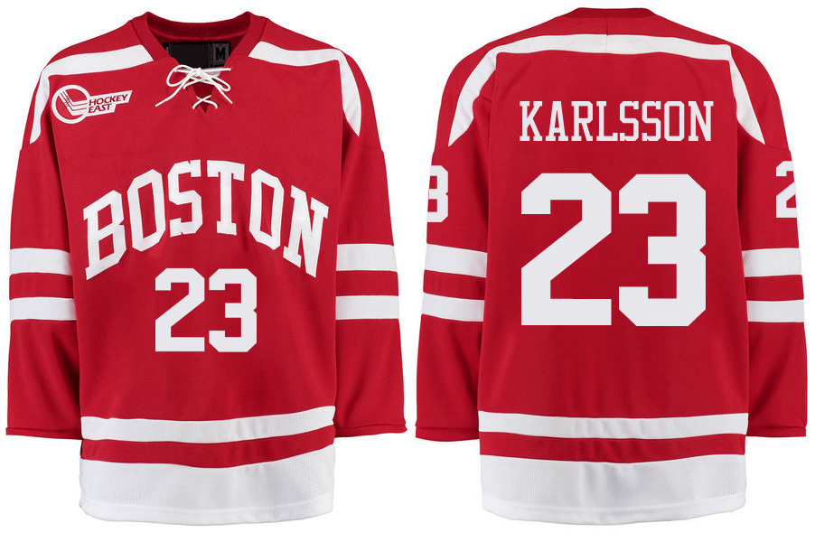 Boston University Terriers BU 23 Jakob Forsbacka Karlsson Red Stitched Hockey Jersey