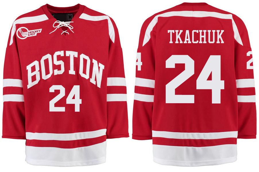 Boston University Terriers BU 24 Keith Tkachuk Red Stitched Hockey Jersey