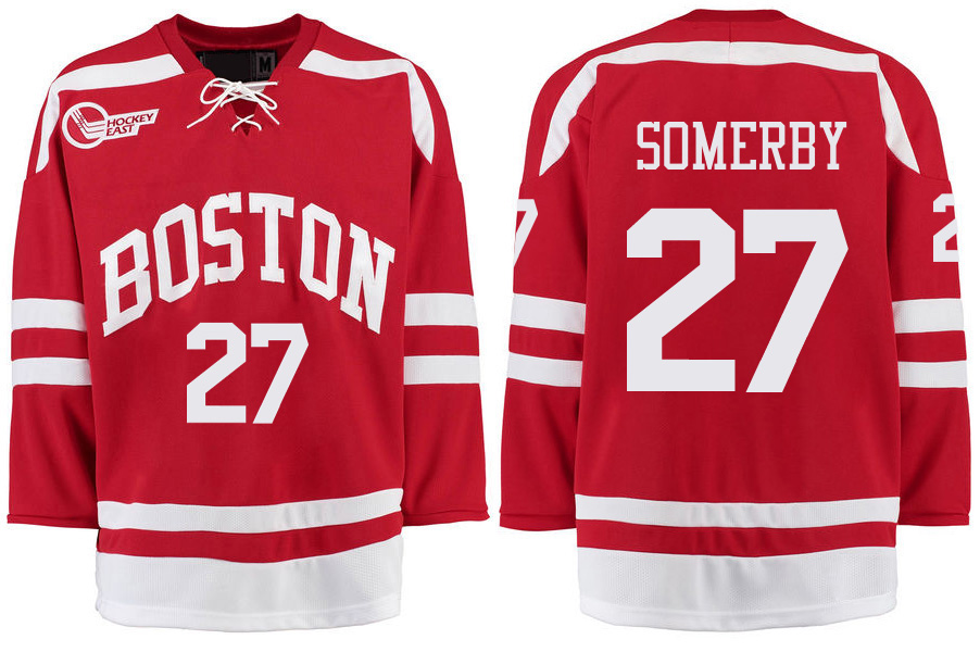 Boston University Terriers BU 27 Doyle Somerby Red Stitched Hockey Jersey