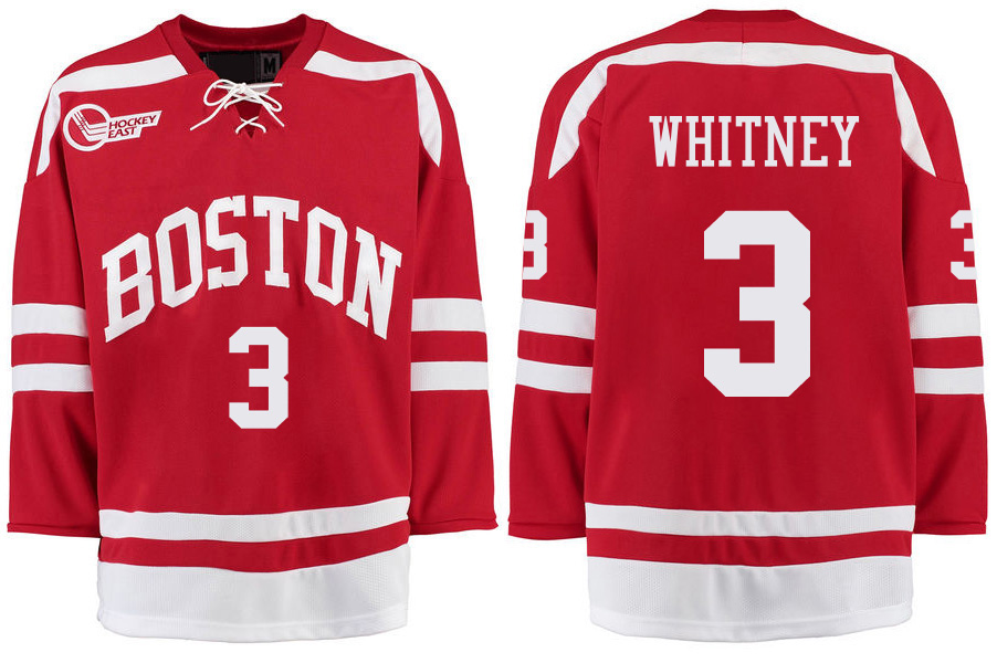 Boston University Terriers BU 3 Ryan Whitney Red Stitched Hockey Jersey