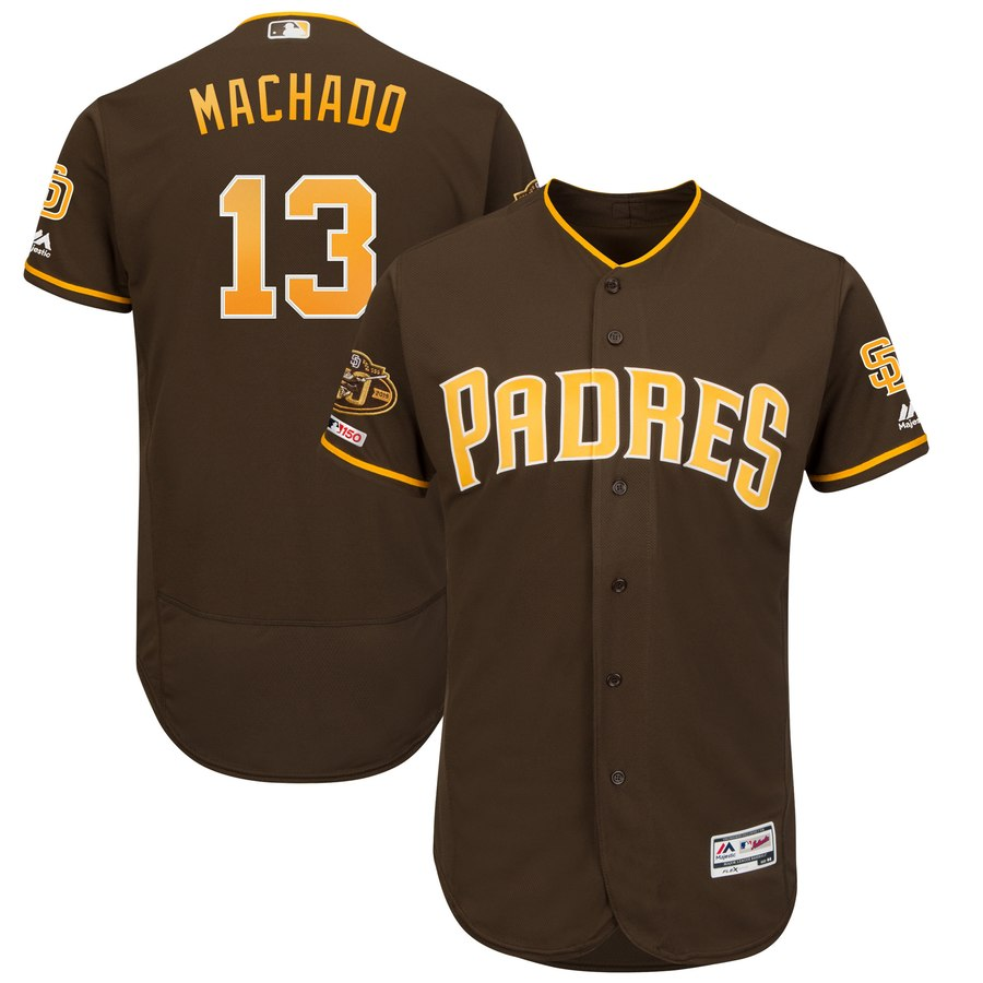 Padres 13 Manny Machado Brown 50th Anniversary and 150th Patch FlexBase Jersey
