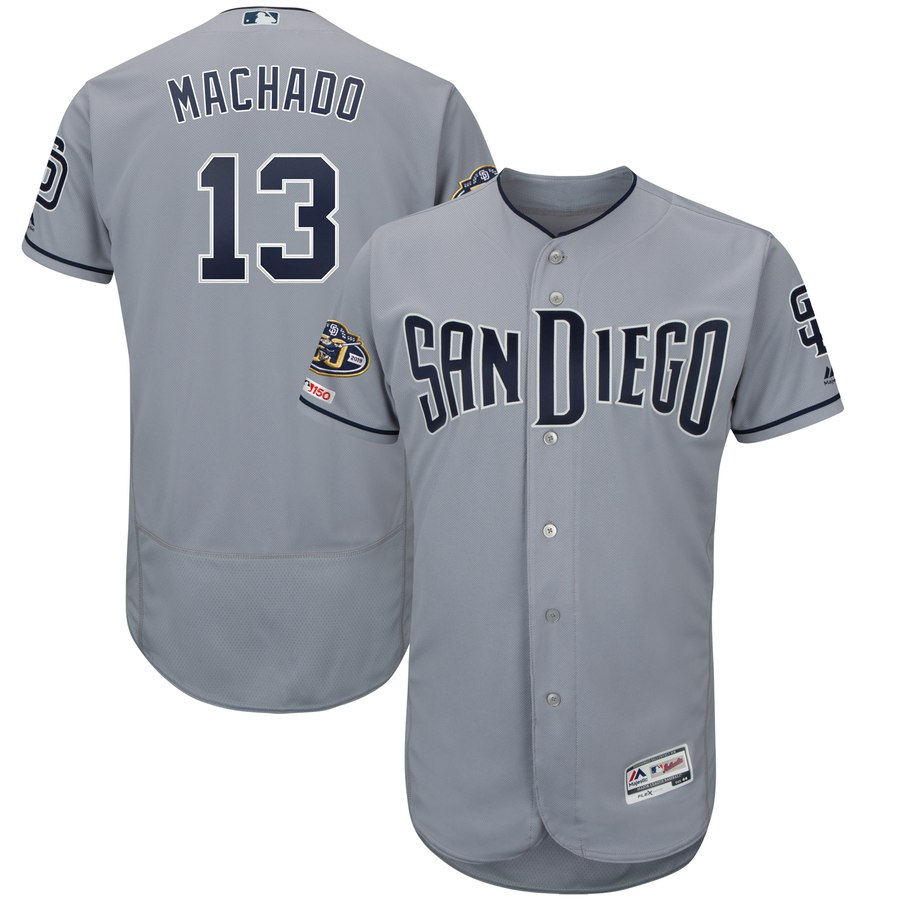 Padres 13 Manny Machado Gray 50th Anniversary and 150th Patch FlexBase Jersey