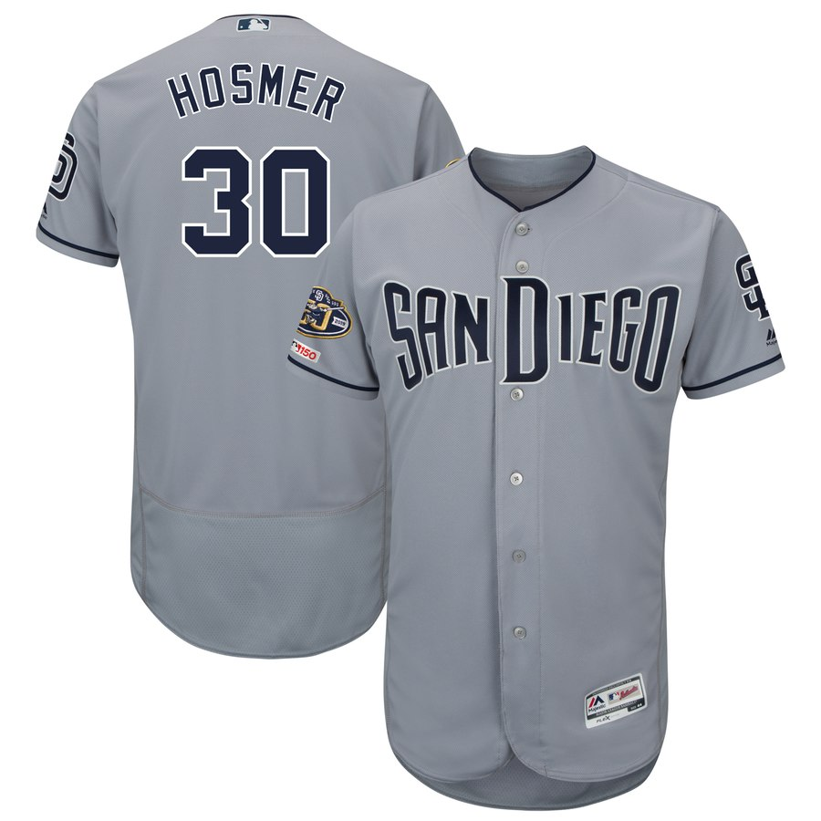Padres 30 Eric Hosmer Gray 50th Anniversary and 150th Patch FlexBase Jersey