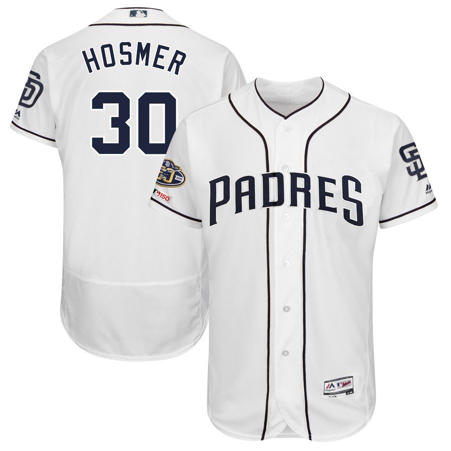 Padres 30 Eric Hosmer White 50th Anniversary and 150th Patch FlexBase Jersey