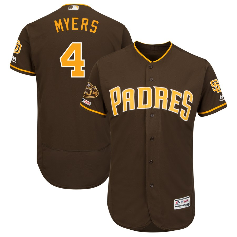 Padres 4 Wil Meyers Brown 50th Anniversary and 150th Patch FlexBase Jersey