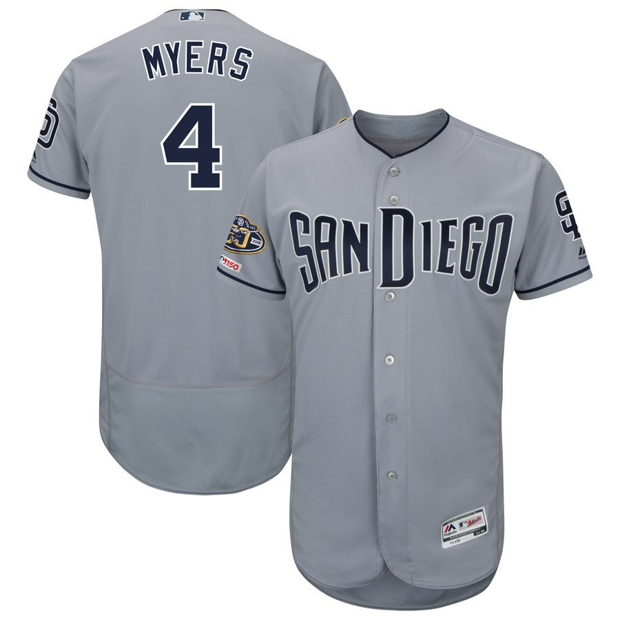Padres 4 Wil Meyers Gray 50th Anniversary and 150th Patch FlexBase Jersey