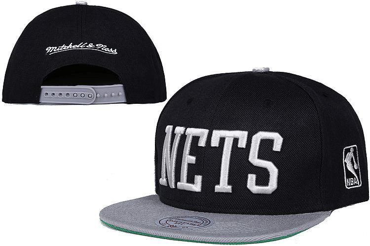 Nets Fresh Logo Black Gray Mitchell & Ness Adjustable Hat LT