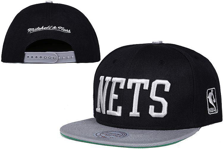 Nets Fresh Logo Black Gray Mitchell & Ness Adjustable Hat LT