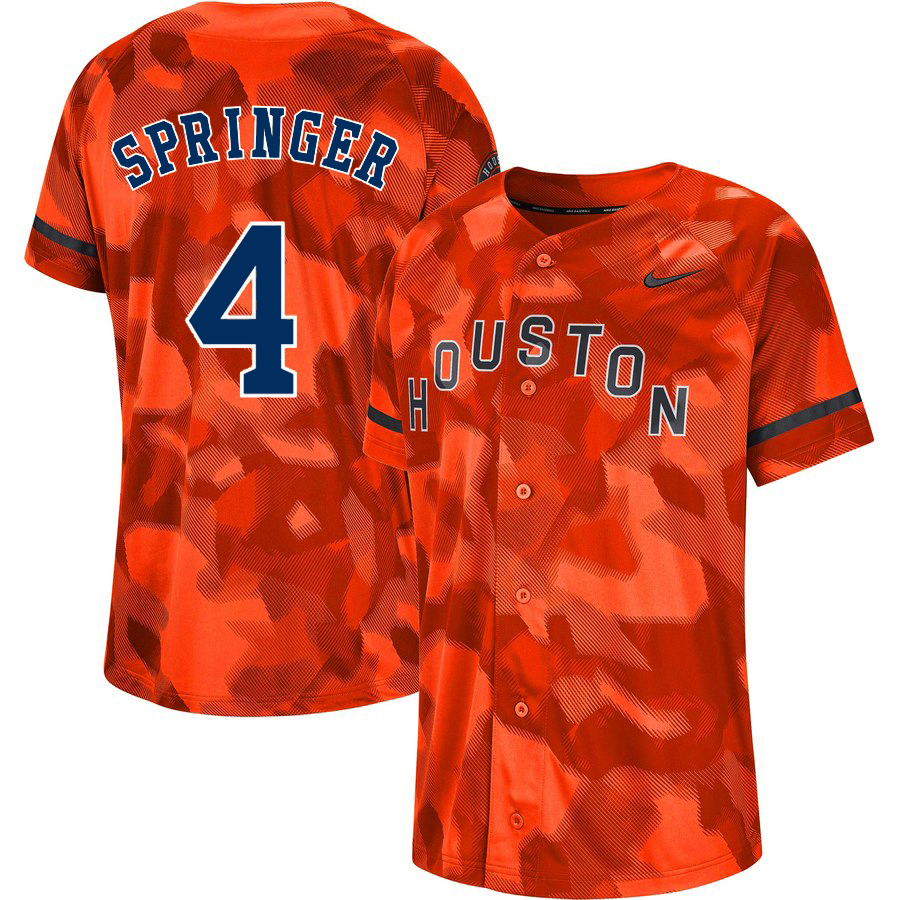 Astros 4 George Springer Orange Camo Fashion Jersey