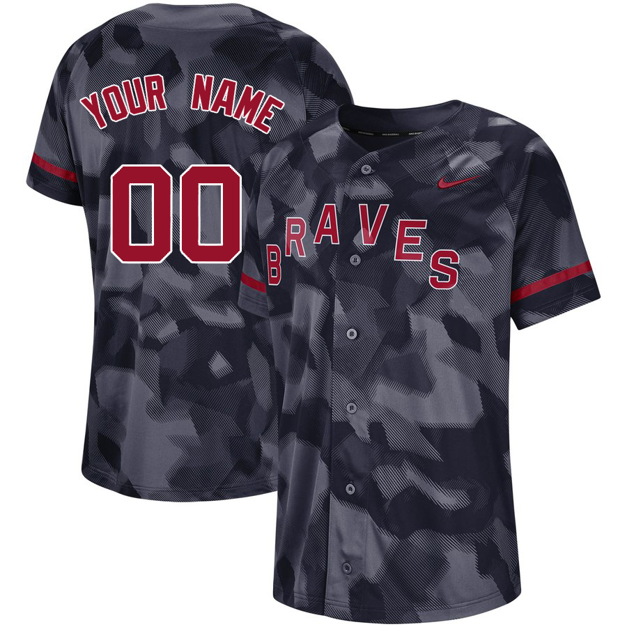 Braves Black Camo Fashion Men's Customized Jersey