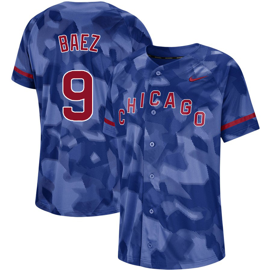Cubs 9 Javier Baez Royal Camo Fashion Jersey