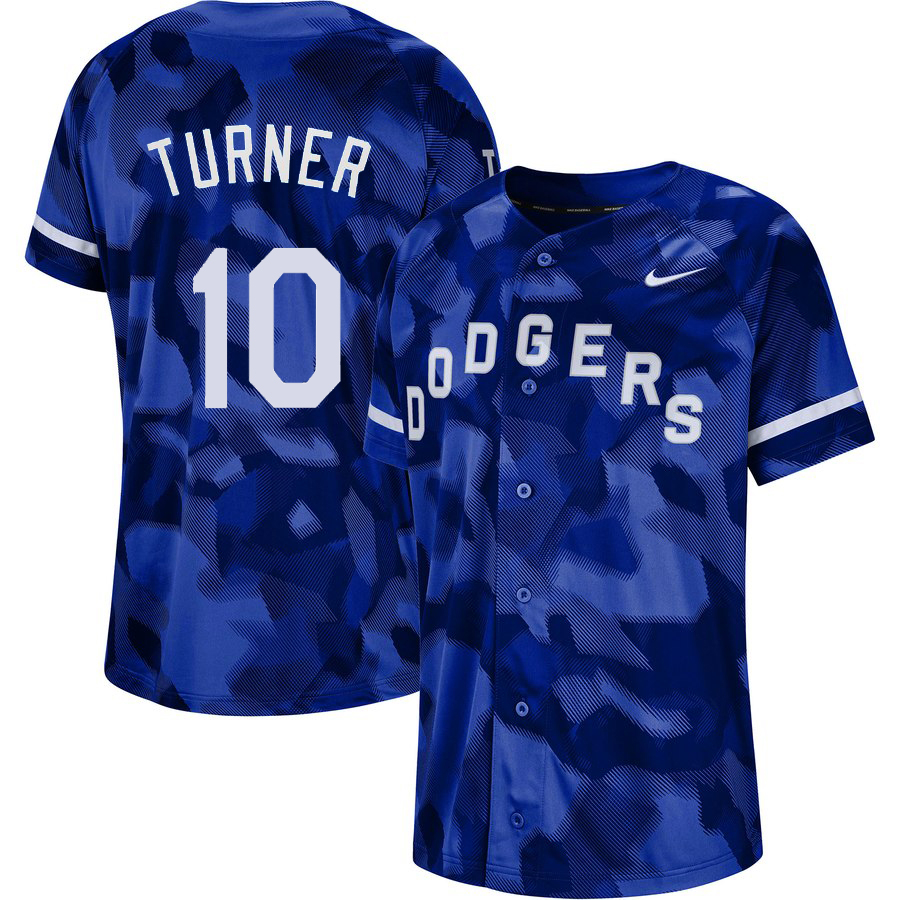 Dodgers 10 Justin Turner Royal Camo Fashion Jersey