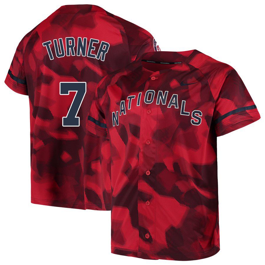 Nationals 7 Trea Turner Red Camo Fashion Jersey