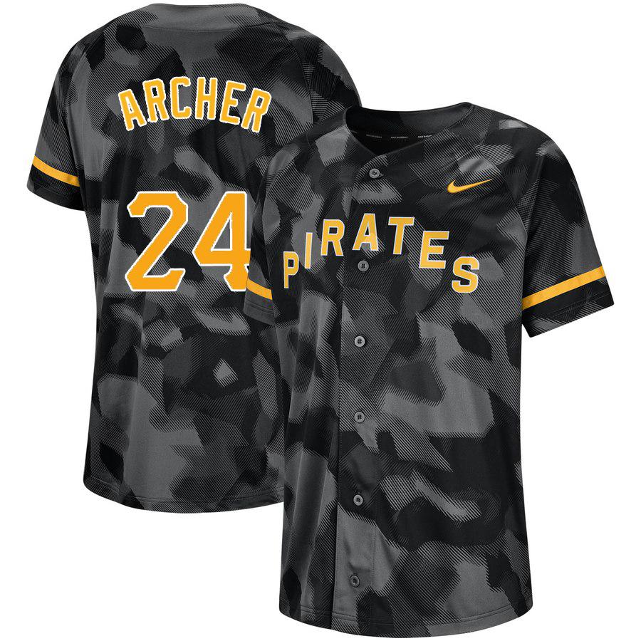 Pirates 24 Chris Archer Black Camo Fashion Jersey