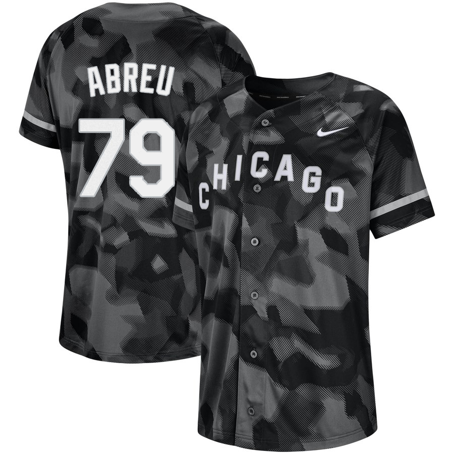 White Sox 79 Jose Abreu Black Camo Fashion Jersey