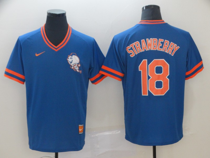 Mets 18 Darryl Strawberry Blue Throwback Jersey
