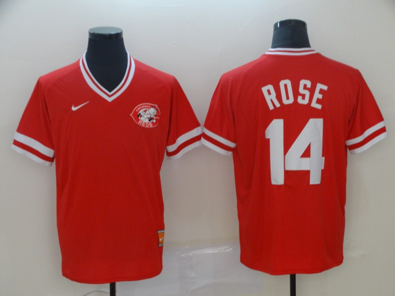 Reds 14 Pete Rose Red Throwback Jersey