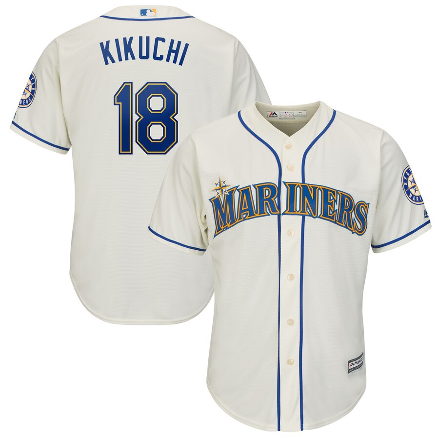 Mariners 18 Yusei Kikuchi Cream Cool Base Jersey