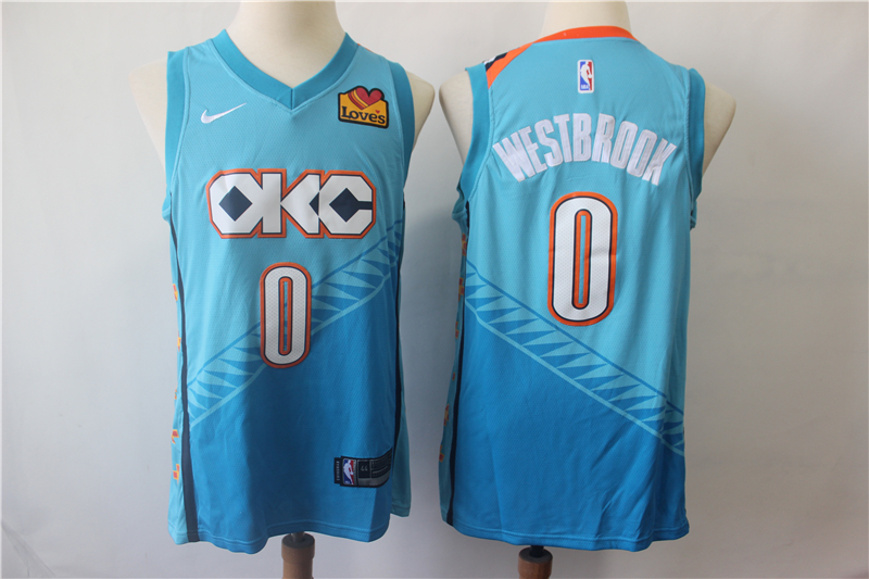 Thunder 0 Russell Westbrook Turquoise City Edition Nike Swingman Jersey