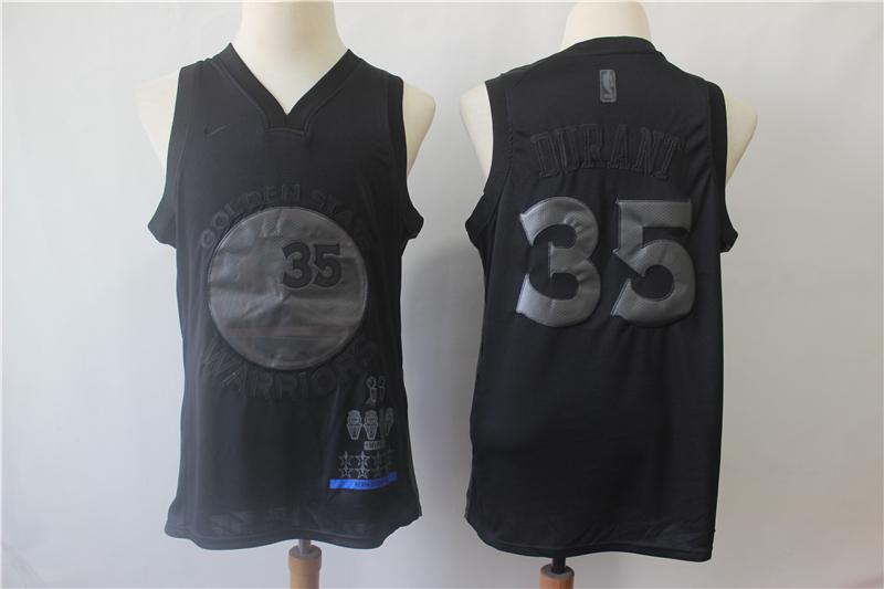 Warriors 35 Kevin Durant Black Nike Swingman MVP Jersey