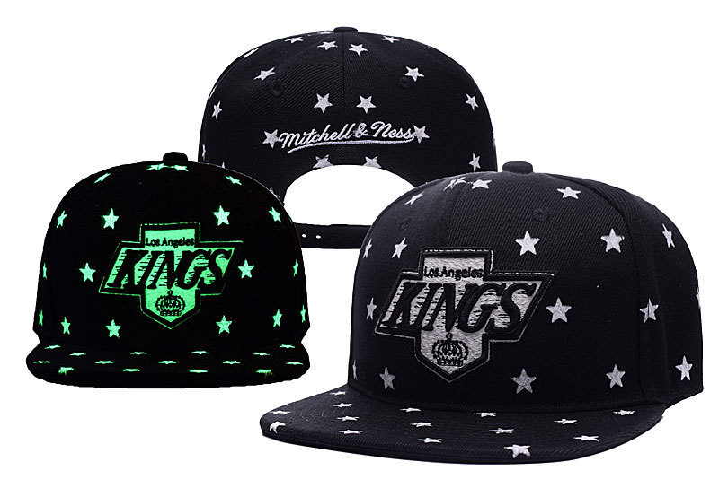 Los Angeles Kings Team Logo Black With Stars Gray Mitchell & Ness Adjustable Hat YD