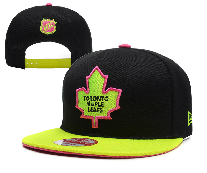 Maple Leafs Team Logo Black Yellow Adjustable Hat YD