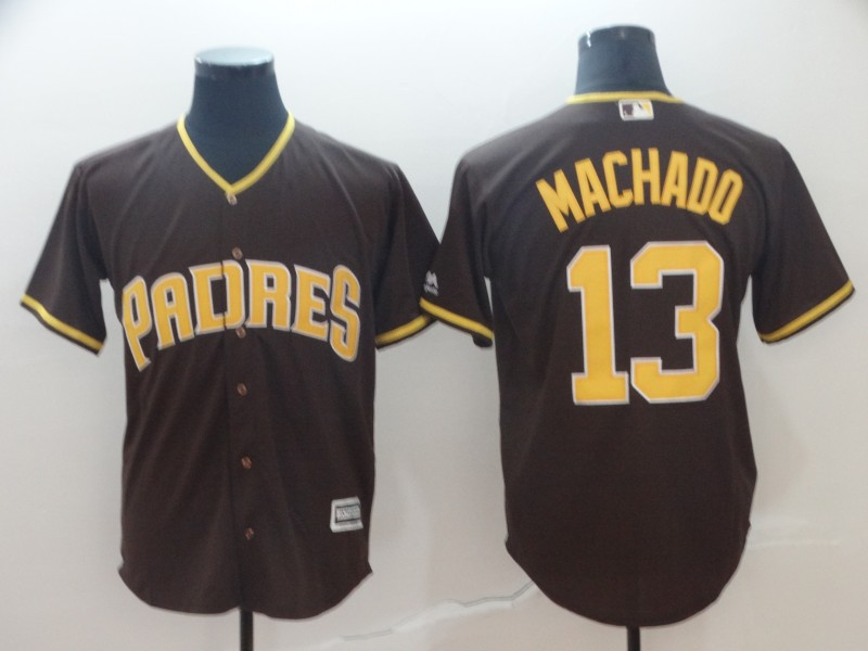 Padres 13 Manny Machado Brown Cool Base Jersey