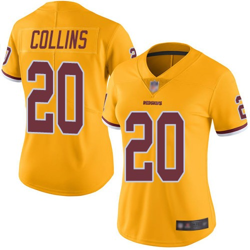 Nike Redskins 20 Landon Collins Gold Women Color Rush Limited Jersey