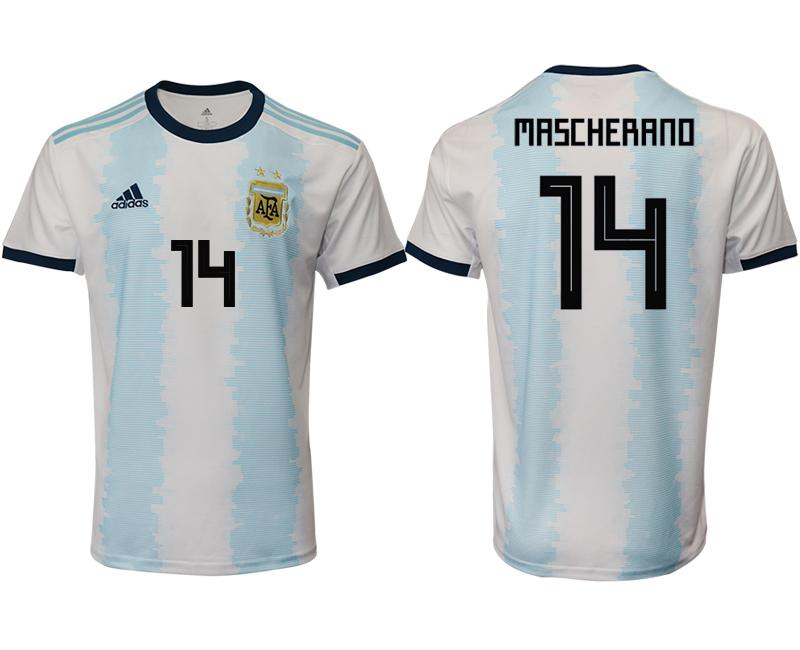 2019-20 Argentina 14 MASCHERANO Home Thailand Soccer Jersey