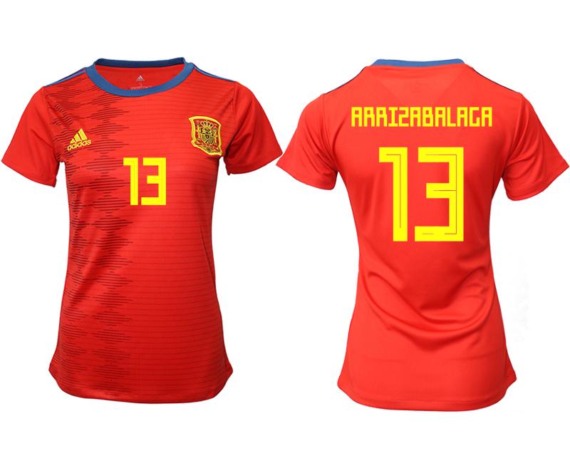 2019-20 Spain 13 ARRISABALAGA Home Women Soccer Jersey