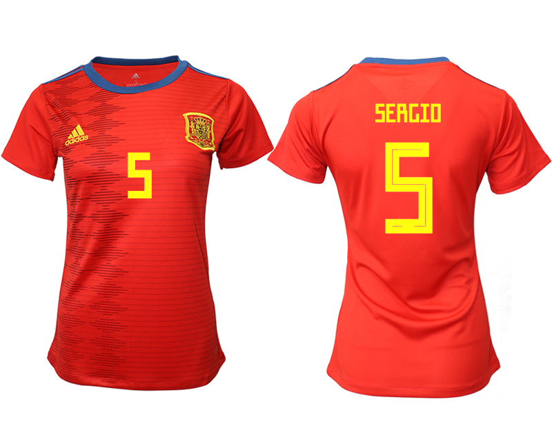 2019-20 Spain 5 SERGIO Home Women Soccer Jersey