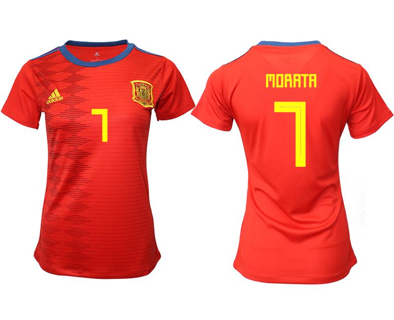 2019-20 Spain 7 MORATA Home Women Soccer Jersey
