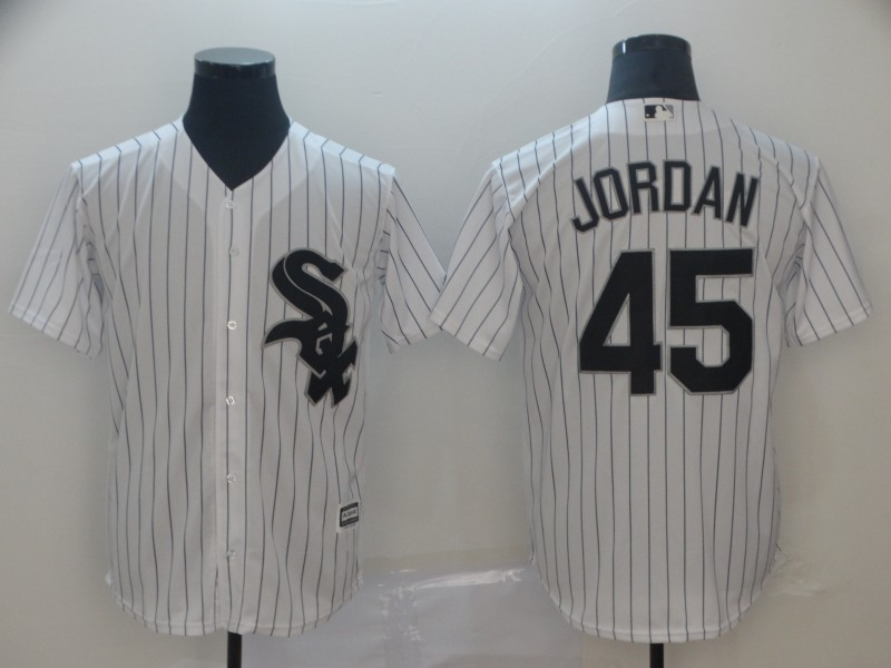 White Sox 45 Michael Jordan White Cool Base Jersey