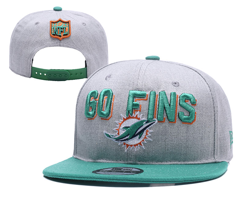 Dolphins Team Logo Gray Green Adjustable Hat YD