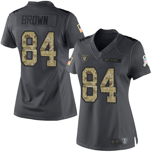 Nike Raiders 84 Antonio Brown Black Camo Women Salute to Service Limited Jersey