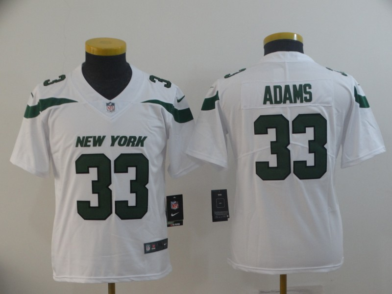 Nike Jets 33 Jamal Adams White Youth New 2019 Vapor Untouchable Limited Jersey
