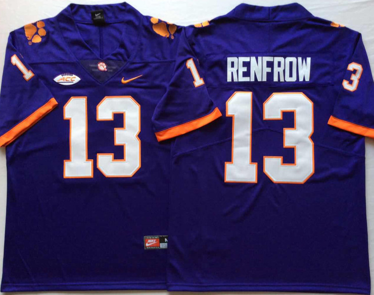 Clemson Tigers 13 Hunter Renfrow Purple Nike College Football Jersey