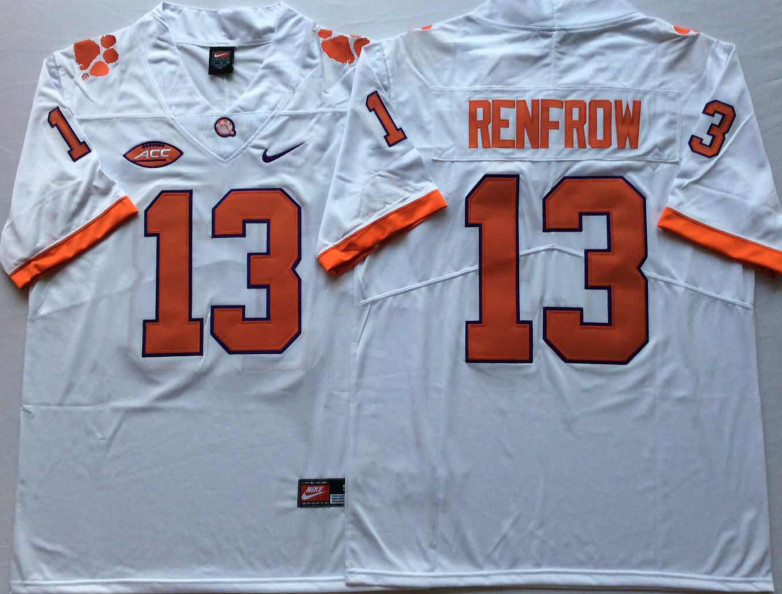 Clemson Tigers 13 Hunter Renfrow White Nike College Football Jersey