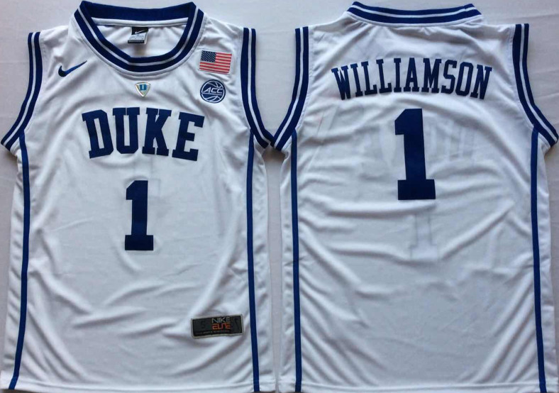 Duke Blue Devils 1 Zion Williamson White Nike College Basketball Jersey