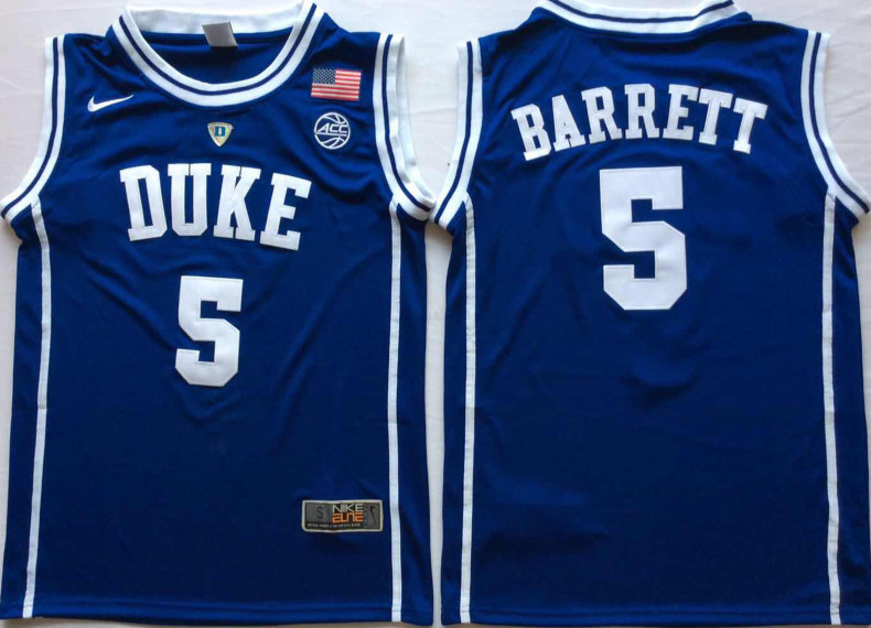 Duke Blue Devils 5 RJ Barrett Blue Nike College Basketball Jersey
