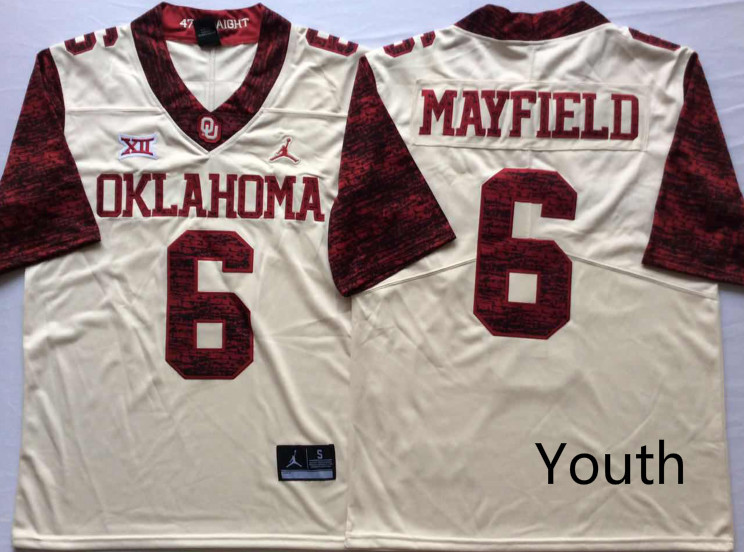 Oklahoma Sooners 6 Baker Mayfield White Youth 47 Game Winning Streak College Football Jersey