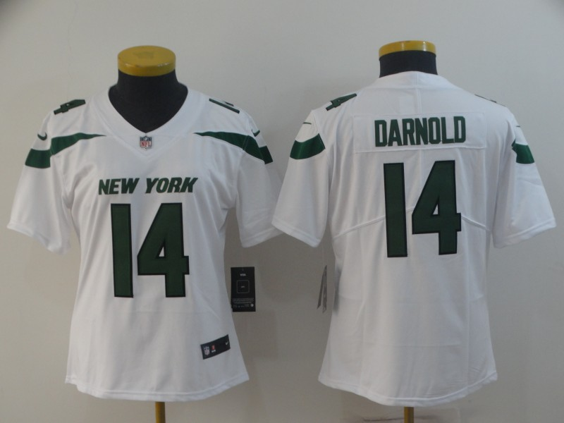 Nike Jets 14 Sam Darnold White Women New 2019 Vapor Untouchable Limited Jersey