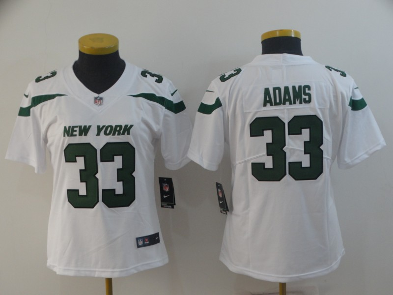 Nike Jets 33 Jamal Adams White Women New 2019 Vapor Untouchable Limited Jersey