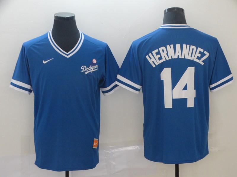 Dodgers 14 Enrique Hernandez Royal Throwback Jersey