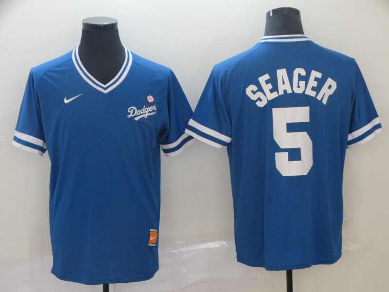 Dodgers 5 Corey Seager Royal Throwback Jersey