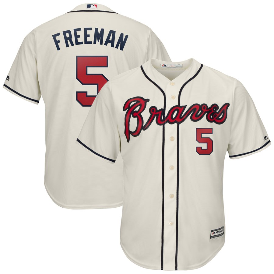 Braves 5 Freddie Freeman Cream Cool Base Jersey