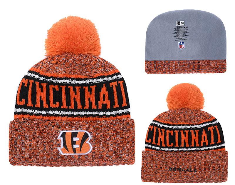 Bengals Fresh Logo Orange With Pom Knit Hat YD